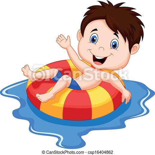 Cartoon Boy floating on an inflatab - csp16404862