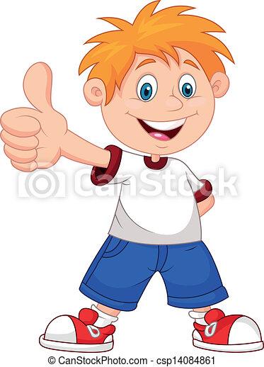 Cartoon boy giving you thumbs up - csp14084861