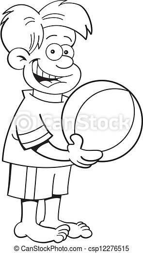 Cartoon Boy Holding A Beach Ball B Black And White Illustration Of