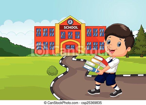 Cartoon boy holding a pile of books - csp25369835