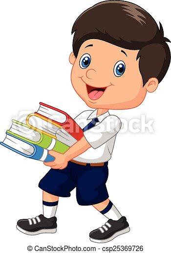 Cartoon boy holding a pile of books - csp25369726