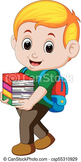 Cartoon boy holding a pile of books with backpack - csp55310929