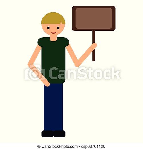 Cartoon boy holding nameplate. Flat style illustration. - csp68701120