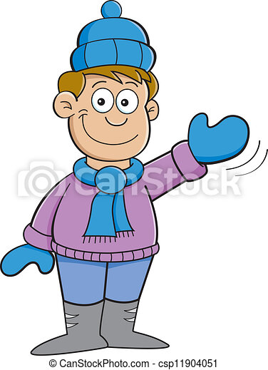 cartoon boy in winter clothes wavin cartoon illustration of rh canstockphoto com winter clothing clipart black and white winter clothes clipart