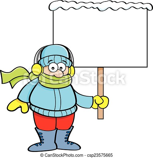 cartoon boy in winter clothing hold cartoon illustration of clip rh canstockphoto com winter clothing clipart black and white winter clothes clipart