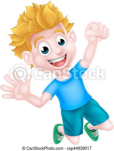 Cartoon Boy Jumping for Joy - csp44839017