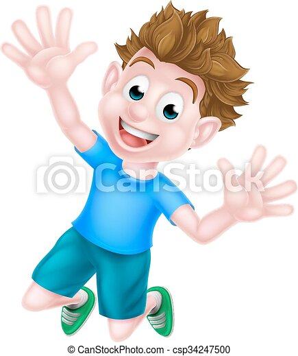 Cartoon Boy Jumping - csp34247500