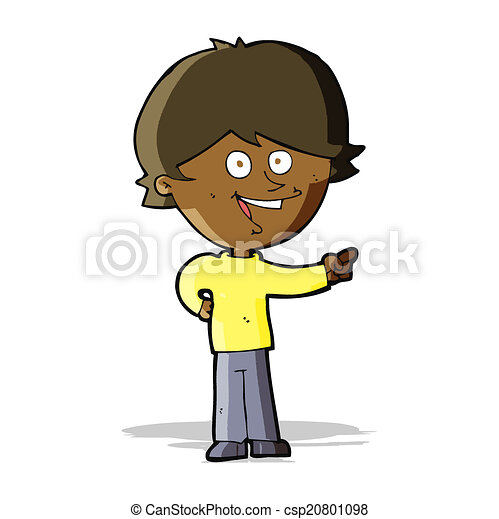cartoon boy laughing and pointing - csp20801098