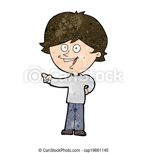 cartoon boy laughing and pointing - csp19661145