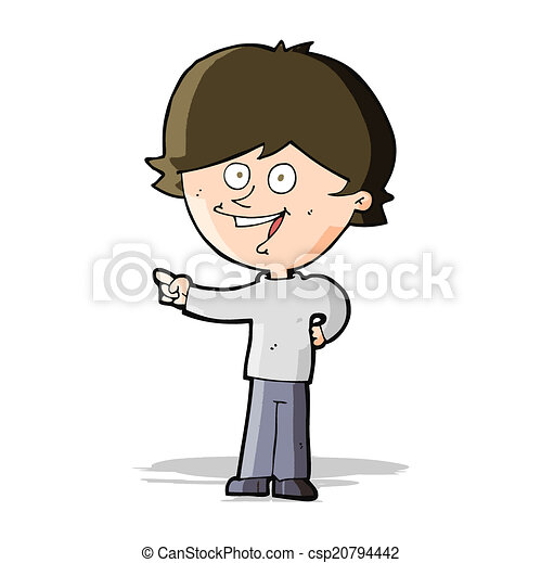 cartoon boy laughing and pointing - csp20794442