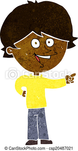 cartoon boy laughing and pointing - csp20487021