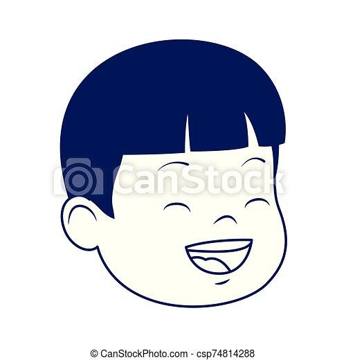 cartoon boy laughing icon, flat design - csp74814288