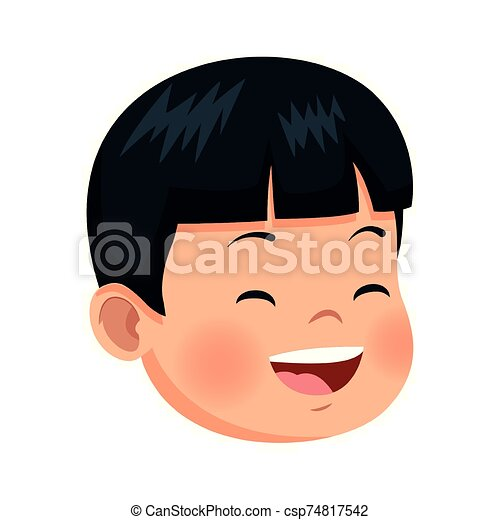 cartoon boy laughing icon, flat design - csp74817542