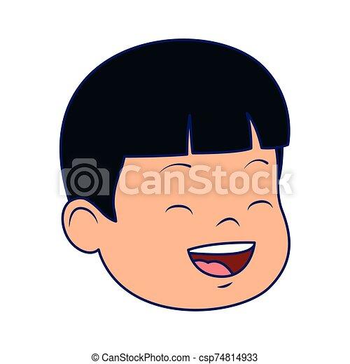 cartoon boy laughing icon, flat design - csp74814933