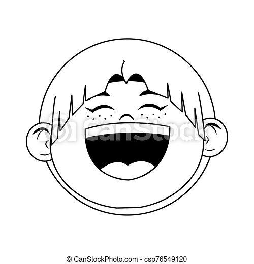 cartoon boy laughing icon, flat design - csp76549120