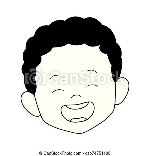 cartoon boy laughing icon, flat design - csp74751108