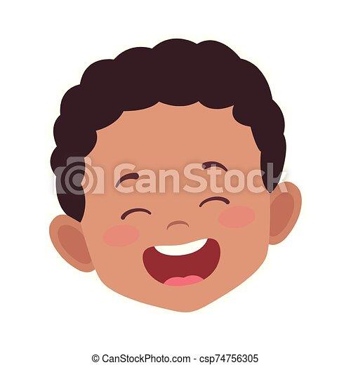 cartoon boy laughing icon, flat design - csp74756305