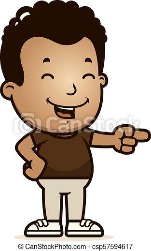 Cartoon Boy Laughing - csp57594617