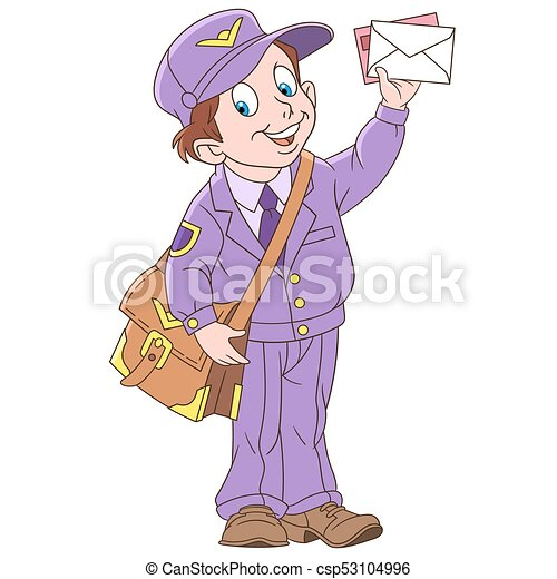 Cartoon boy mail man - csp53104996