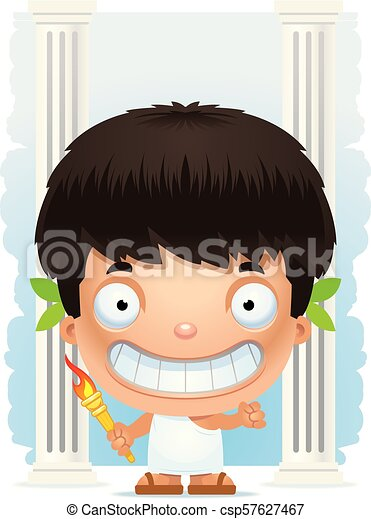 Cartoon Boy Olympian Smiling - csp57627467