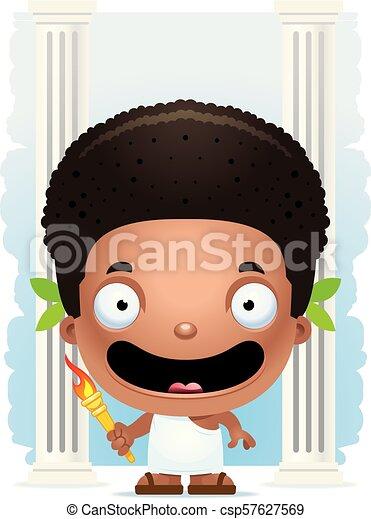 Cartoon Boy Olympian Smiling - csp57627569