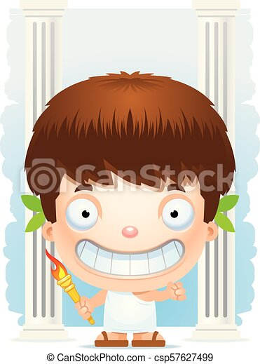 Cartoon Boy Olympian Smiling - csp57627499