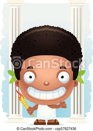 Cartoon Boy Olympian Smiling - csp57627436