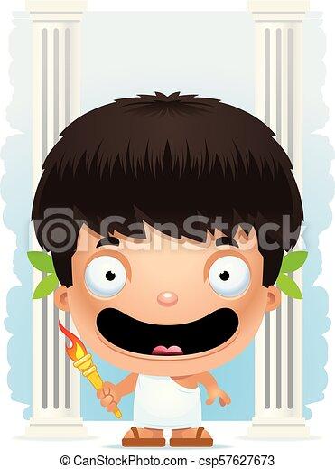 Cartoon Boy Olympian Smiling - csp57627673