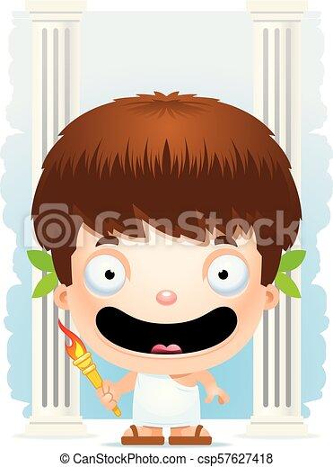 Cartoon Boy Olympian Smiling - csp57627418