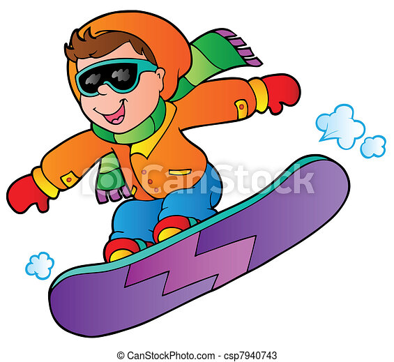 cartoon boy on snowboard vector illustration vectors search rh canstockphoto com snowboarding clip art free snowboarding clipart black and white