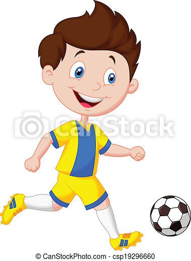 vector illustration of cartoon boy playing football clip art vector rh canstockphoto com football cartoon clipart free football cartoon clipart free