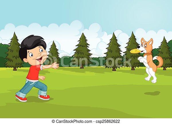 Cartoon boy playing Frisbee with hi - csp25862622