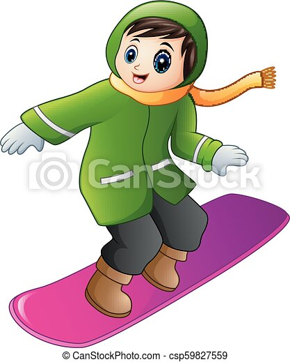 Vector Illustration Of Cartoon Boy Playing Snowboard
