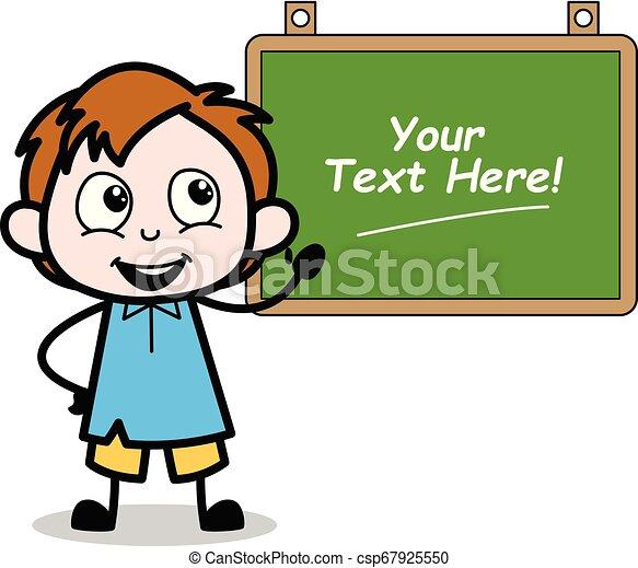 Cartoon Boy Presenting a School Board Vector Illustration - csp67925550