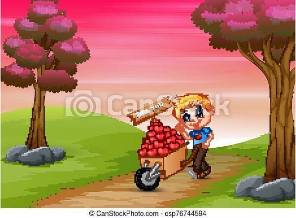 Cartoon boy pushing a pile of hearts in wood trolley on a road - csp76744594
