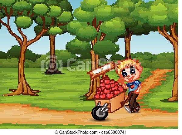 Cartoon boy pushing a pile of hearts in wood trolley on the garden path - csp65000741