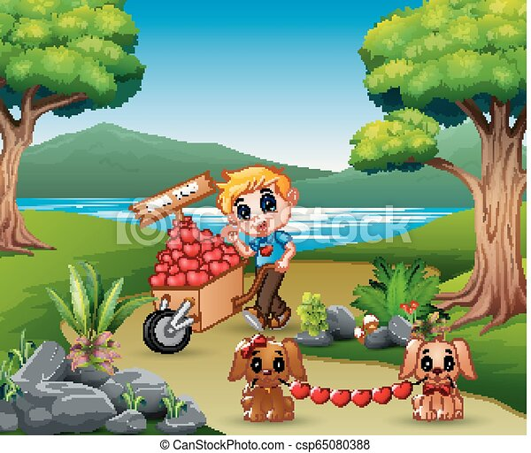 Cartoon boy pushing a pile of hearts in wood trolley with the dog - csp65080388