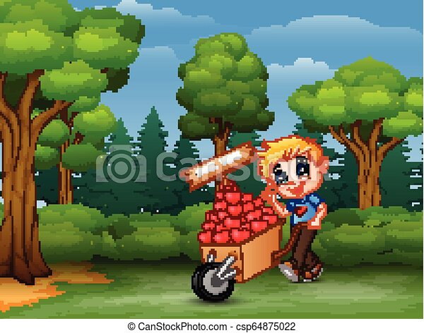 Cartoon boy pushing a pile of hearts in wood trolley for you - csp64875022