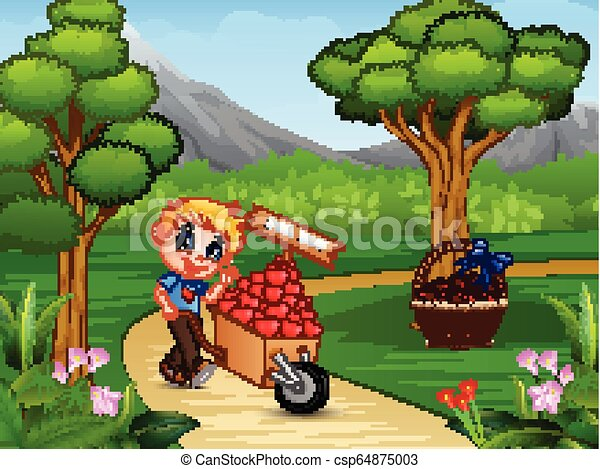 Cartoon boy pushing a pile of hearts in wood trolley on a park road - csp64875003