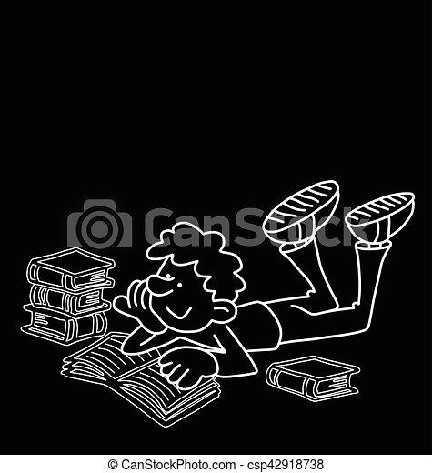 Cartoon Boy Reading - csp42918738