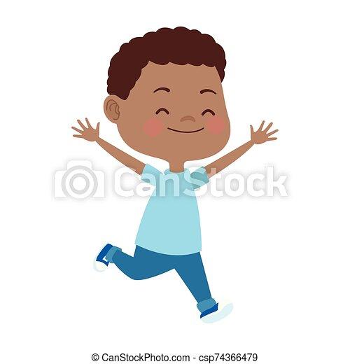 cartoon boy running icon, - csp74366479