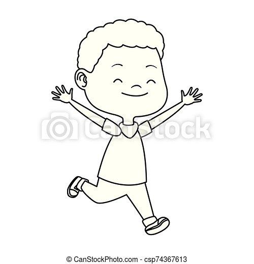 cartoon boy running icon, - csp74367613