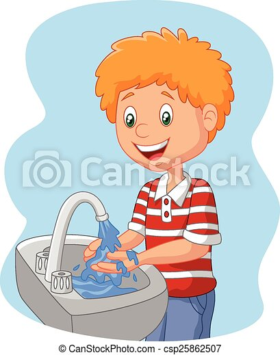 vector illustration of cartoon boy washing hand rh canstockphoto com washing hands clipart black and white child washing hands clipart