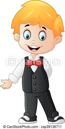 vector illustration of cartoon boy wearing a tuxedo vector clip art