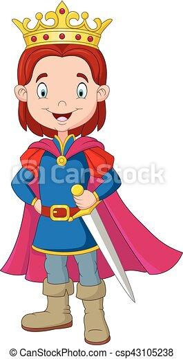 Vector Illustration Of Cartoon Boy Wearing Prince Costume - Cartoon-boy-images-free