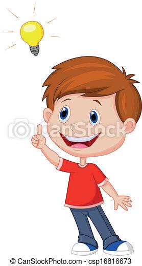 Cartoon boy with big idea  - csp16816673