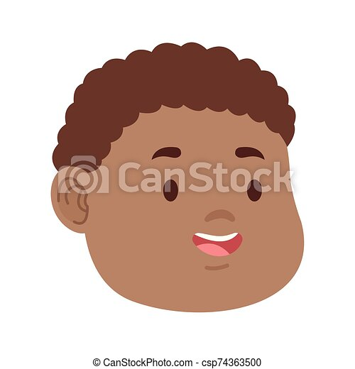 Cartoon Boy With Curly Hair Icon Flat Design Cartoon Boy With Curly Hair Icon Over White Background Colorful Design