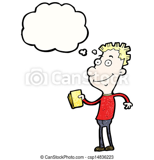cartoon boy with golden tickets - csp14836223