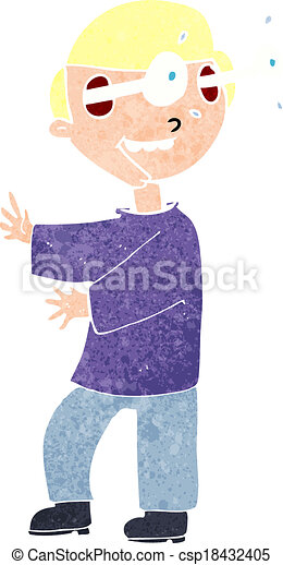 cartoon boy with popping out eyes - csp18432405