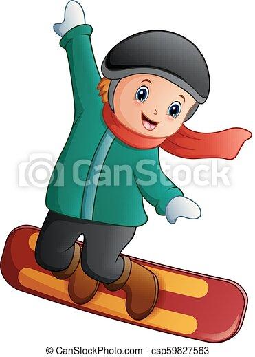 Vector Illustration Of Cartoon Boy With Snowboard